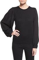 Ralph Lauren Balloon-Sleeve Cashmere Sweater, Black