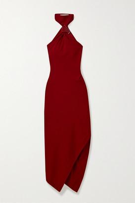 Monse Asymmetric Embellished Wool-crepe Halterneck Dress - Red