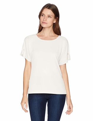 Calvin Klein Women's Short Sleeve TEE with Pearl Detail