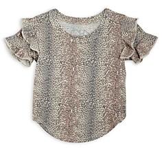 Chaser Girls' Leopard Print Ruffle Sleeve Top - Little Kid, Big Kid