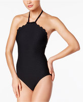 Kate Spade Scalloped High-Neck Halter One-Piece Swimsuit