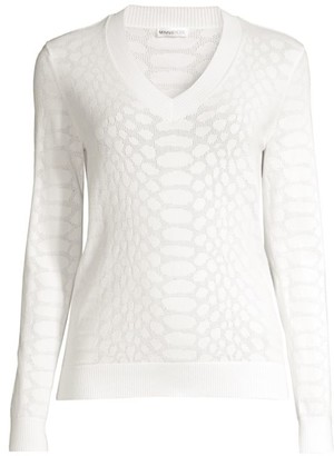 Minnie Rose Mesh Python-Knit Pullover