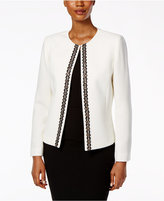 Tahari ASL Petite Ponte Beaded-Trim Jacket