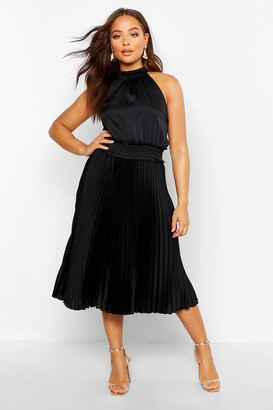 boohoo Pleated Skirt Satin Midi Skater Dress