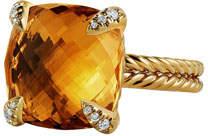 David Yurman Châtelaine 18k Gold Citrine Ring w/ Diamonds, Size 7