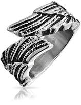 Bling Jewelry Unisex Feather Angel Wing Ring Steel Band Free Engraving