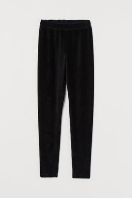 H&M Corduroy Velour Leggings - Black