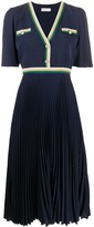 Sandro Paris buttoned V-neck pleated dress
