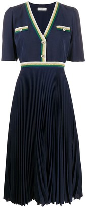 Sandro Paris buttoned V-neck pleated dress