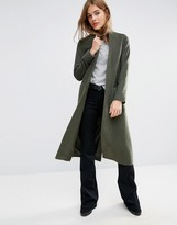 Helene Berman Duster Coat in Khaki Green