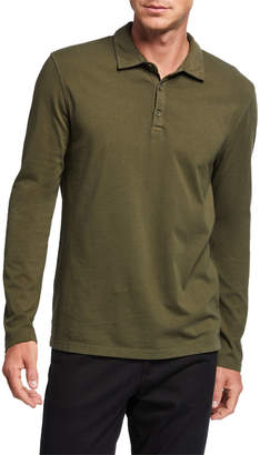 Vince Men's Solid Long-Sleeve Polo Shirt