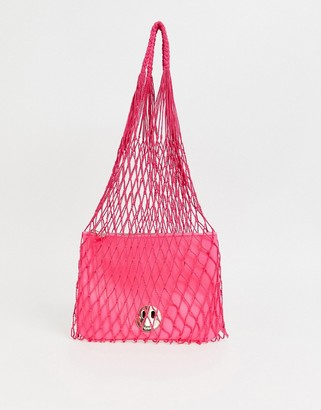 Hill & Friends Hill and Friends Happy string shopper with leather pouch in pink