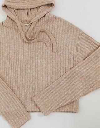 Miss Selfridge co-ord cropped hoodie in caramel