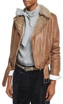 Brunello Cucinelli Shearling Fur-Lined Leather Moto Jacket, Light Brown