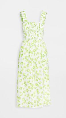 WAYF Rashida Smocked Slit Front Midi Dress
