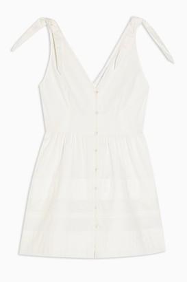 Topshop Ivory Pintuck Button Mini Dress