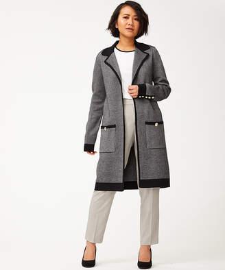 Tommy Hilfiger Women's Blazers BLACK/IVORY - Black & Ivory Tweed Accent-Button Pocket Open Coat - Women