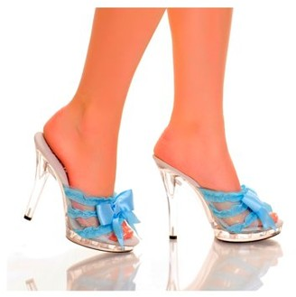 """The Highest Heel Halloween Women's 5"""" Platform Mule With Satin Bow And Lace Vamp"""