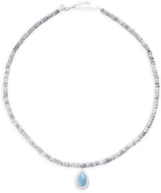 Meira T Silverite, Paraiba Stone & Diamond Beaded Pendant Necklace