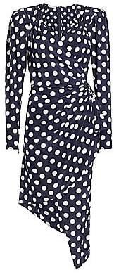 Michael Kors Women's Polka Dot Silk Asymmetric Wrap Dress - Size 0