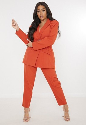 Missguided Size Orange Co Ord Tailored Cigarette Trousers