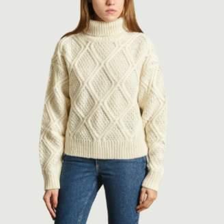 Samsoe & Samsoe White Wool and Acrylic Bennie Twisted Turtleneck Sweater - s | white | wool | Acrylic - White/White