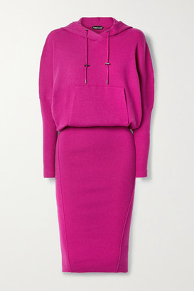 Tom Ford Hooded Ribbed Cashmere-blend Dress - Fuchsia