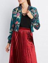 Charlotte Russe Floral Satin Cropped Bomber Jacket
