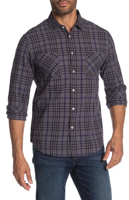Good Man Brand Long Sleeves Point Collar Bias Slub Check Shirt
