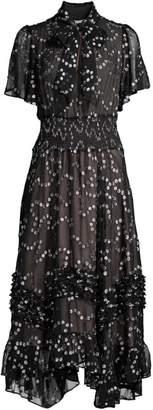 Rebecca Taylor Nuage Metallic Polka Dot Handkerchief Dress