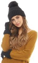 Board Angels Womens Rib Hat With Faux Fur Pom-Pom Black