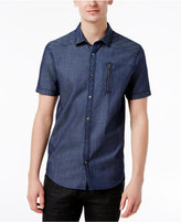 INC International Concepts Men's Top-Stitched Denim Shirt, Created for Macy's