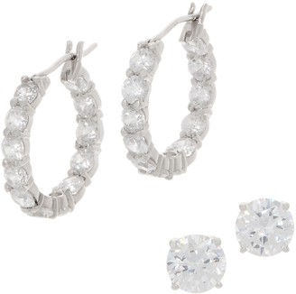 Diamonique Sterling 6.20 cttw Hoop & Stud Earrings Boxed Set