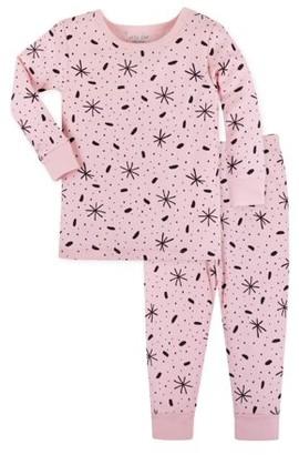 Little Star Organic Pure Organic Baby Toddler Girl Soft Cotton Thermal Long Johns Pajamas, 2pc Set