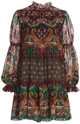 Alice + Olivia Marella Mockneck Paisley Shift Dress