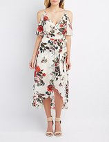 Charlotte Russe Floral Cold Shoulder Maxi Wrap Dress