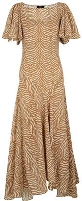 De La Vali Olivia tiger-print chiffon midi dress