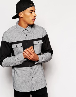 Asos Twill Shirt In Long Sleeve With Contrast Panel