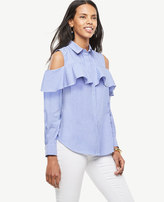 Ann Taylor Home Tops + Blouses Striped Cold Shoulder Flounce Shirt Striped Cold Shoulder Flounce Shirt