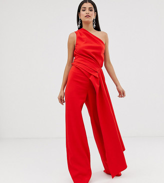 ASOS EDITION Tall one shoulder drape side jumpsuit