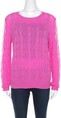 Ralph Lauren Pink Cable Knit Cashmere Crew Neck Pullover L
