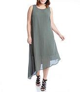 Karen Kane Plus Asymmetrical Hem Sleeveless Dress