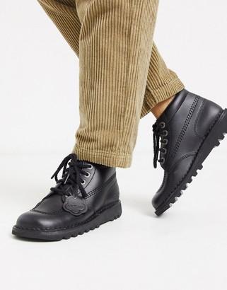 Kickers Kick Hi flat leather boots in black