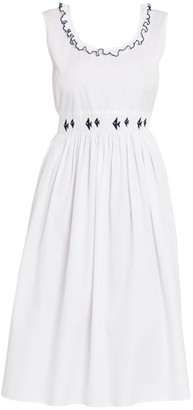 Miu Miu Smocked Cotton Poplin Dress