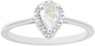 Sterling Silver Pear Shaped Diamond Accent Frame Ring