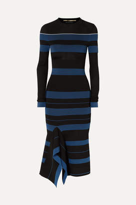 Roland Mouret Olivier Perforated Striped Stretch-knit Dress - Black