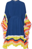 Emilio Pucci Ruffled Chiffon-trimmed Silk-georgette Midi Dress - Royal blue