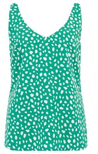 Sugarhill Boutique Romy Painterly Spot Strappy Top Green - 14