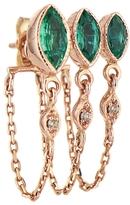 Celine Daoust Triple Marquise Emerald and Diamond Eye Single Earring
