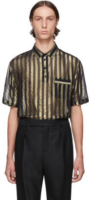Saint Laurent Black and Gold Silk Lame Stripes Polo Shirt